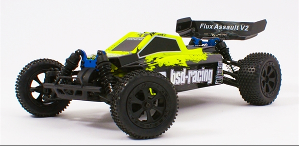 Flux Assault V2 Buggy Brushless 4WD 1/10TH 7.4V Lipo fluorescent yellow