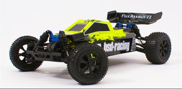 Flux Assault V2 Buggy Brushless 4WD 1/10TH 7.4V Lipo fluorescent yellow