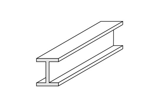 0.125in (3.2mm) White Styrene H Column (Pk3)