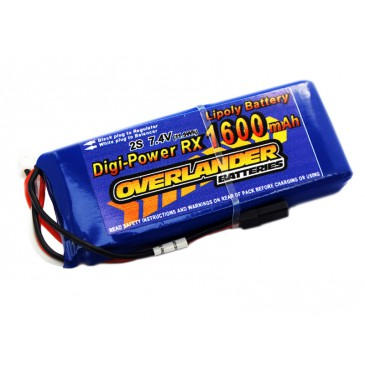 1600mAh 2S 7.4v LiPo Battery Receiver Pack - Overlander Digi-Power