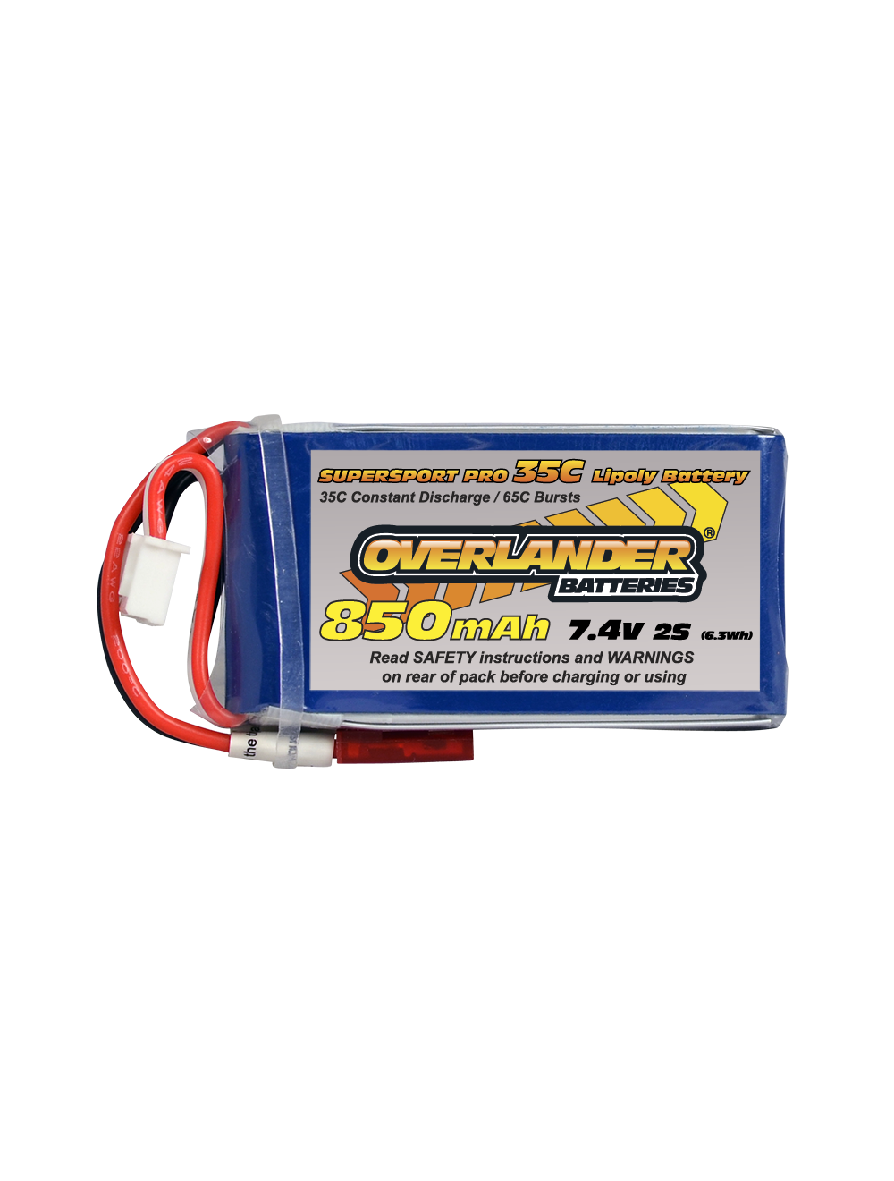 850MAH 7.4V 2S 35C SUPERSPORT PRO LIPO BATTERY (Deans)