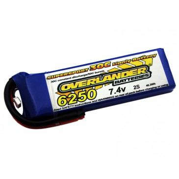 6250mAh 2S 7.4v 30C LiPo Battery - Overlander Supersport