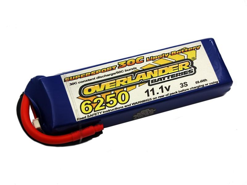 6250mAh 3S 11.1v 30C LiPo Battery