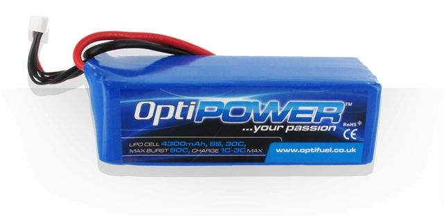 Opti Power Lipo Cell Battery 5000mAh 6S 30C