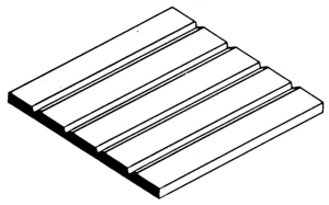 0.025in (0.64mm) Groove Spacing White Styrene Siding 6x12in Sheet