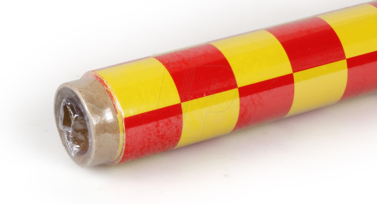 2Mtr Oracover Fun-3 Large Chequered Yellow/Red
