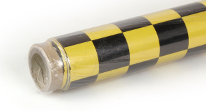2Mtr Oracover Fun-3 Large Chequered Pearl Yellow/Black