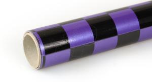 2Mtr Oracover Fun-3 Large Chequered Pearl Purple/Black