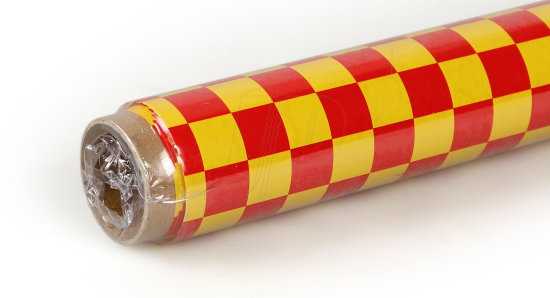 2Mtr Oracover Fun-4 Small Chequered Yellow/Red
