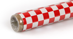 2Mtr Oracover Fun-3 Large Chequered White/Red