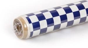 2Mtr Oracover Fun-4 Small Chequered White/Dark Blue