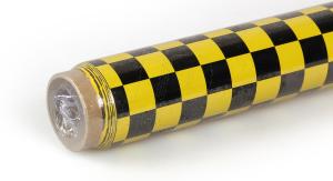 2Mtr Oracover Fun-4 Small Chequered Yellow/Black