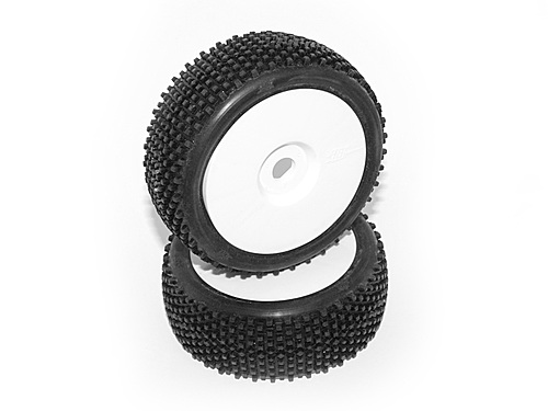 HB Block Mounted Tire (White/White Wheel/1/8 Buggy/2pcs)