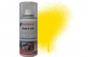 Humbrol 150ml Spray Acrylic 69 Yellow Gloss