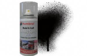 Humbrol 150ml Spray Acrylic 201 Black Metallic