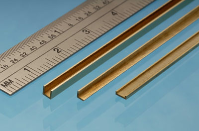 2.5mm Milled Brass C Channel Section