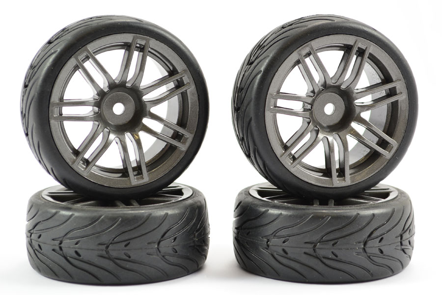 1/10 Street/Tread Tyre 14SP Gun Metal Wheel (4)