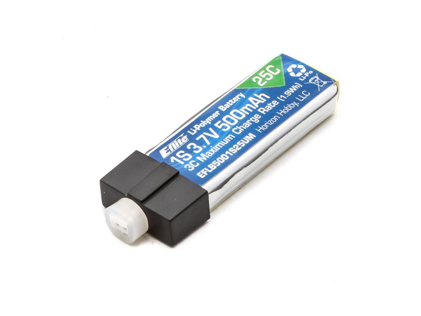 500mAh 1S 3.7V 25C LiPo High Current UMX Connector