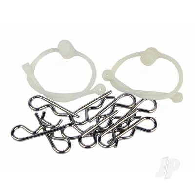Body Clips (10pcs) with White Retainers (2pcs)