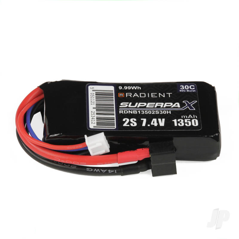 LiPo 2S 1350mAh 7.4V 30C Deans (HCT)