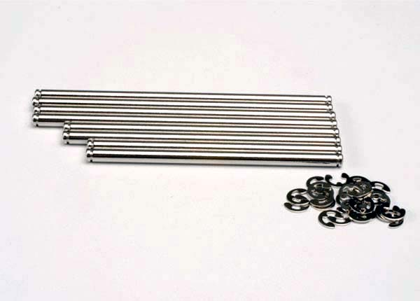 Suspension pin set, stainless steel (w/ E-clips)
