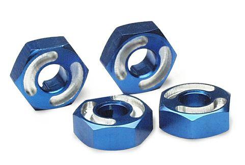 Wheel hubs, hex, 6061-T6 aluminum (blue) (4)/ axle pins (2