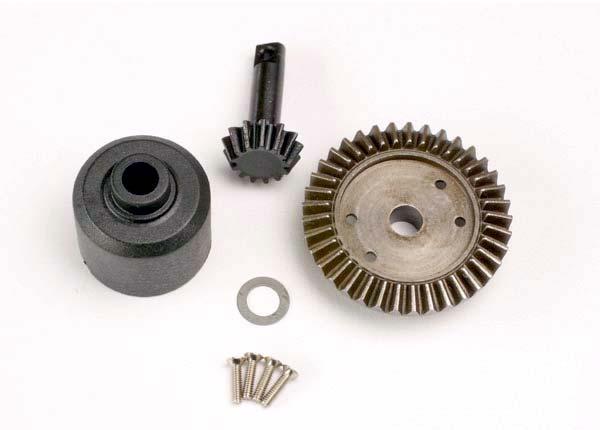 Ring gear, 37-T/ 13-T pinion/ diff carrier/6x10x0.5mm Teflon