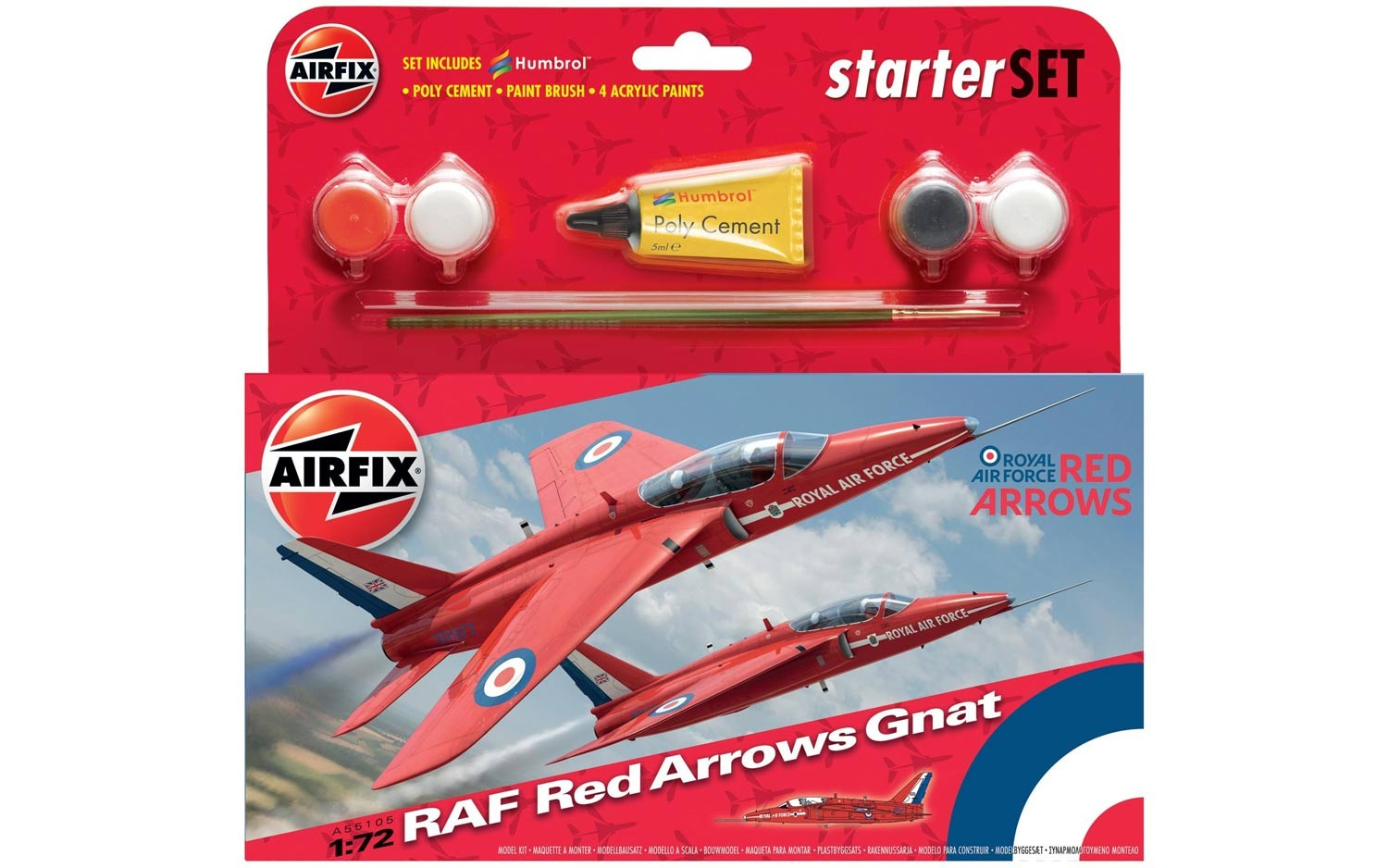 Airfix RAF Red Arrows Gnat Starter Set 1:72nd Scale.