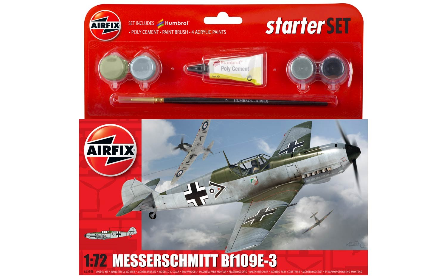 Airfix Messerschmitt Bf109E-3 Starter Set 1:72nd Scale.