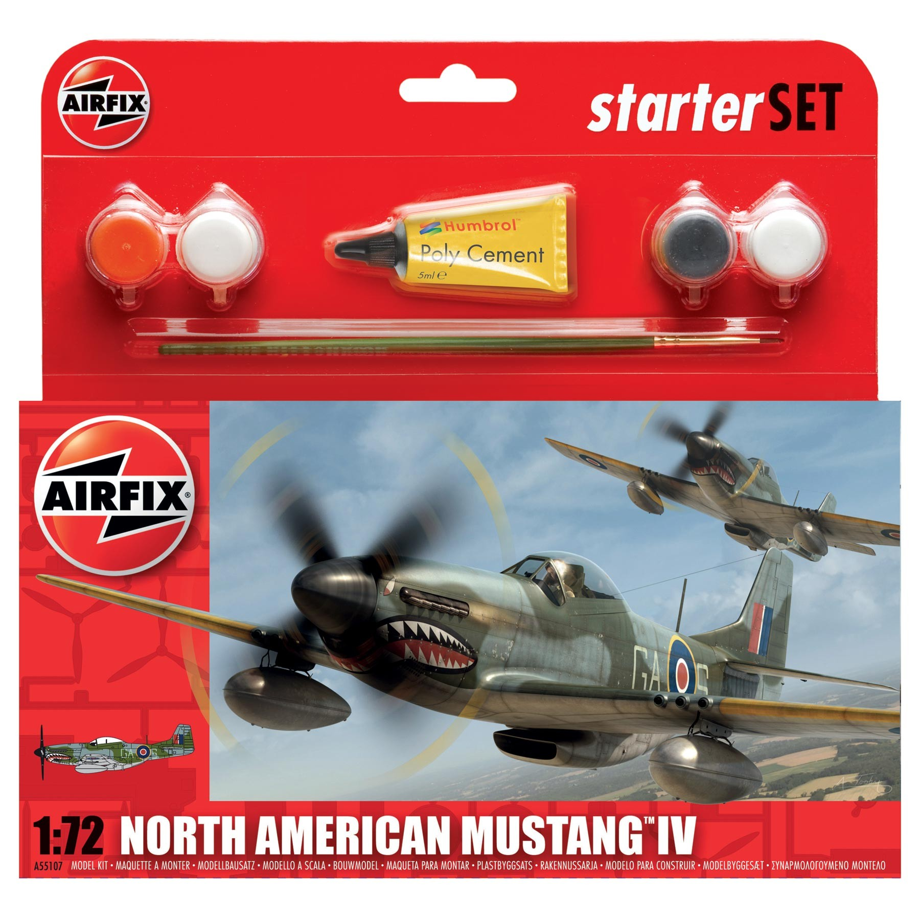Airfix North American Mustang IV Starter Set 1:72nd Scale.