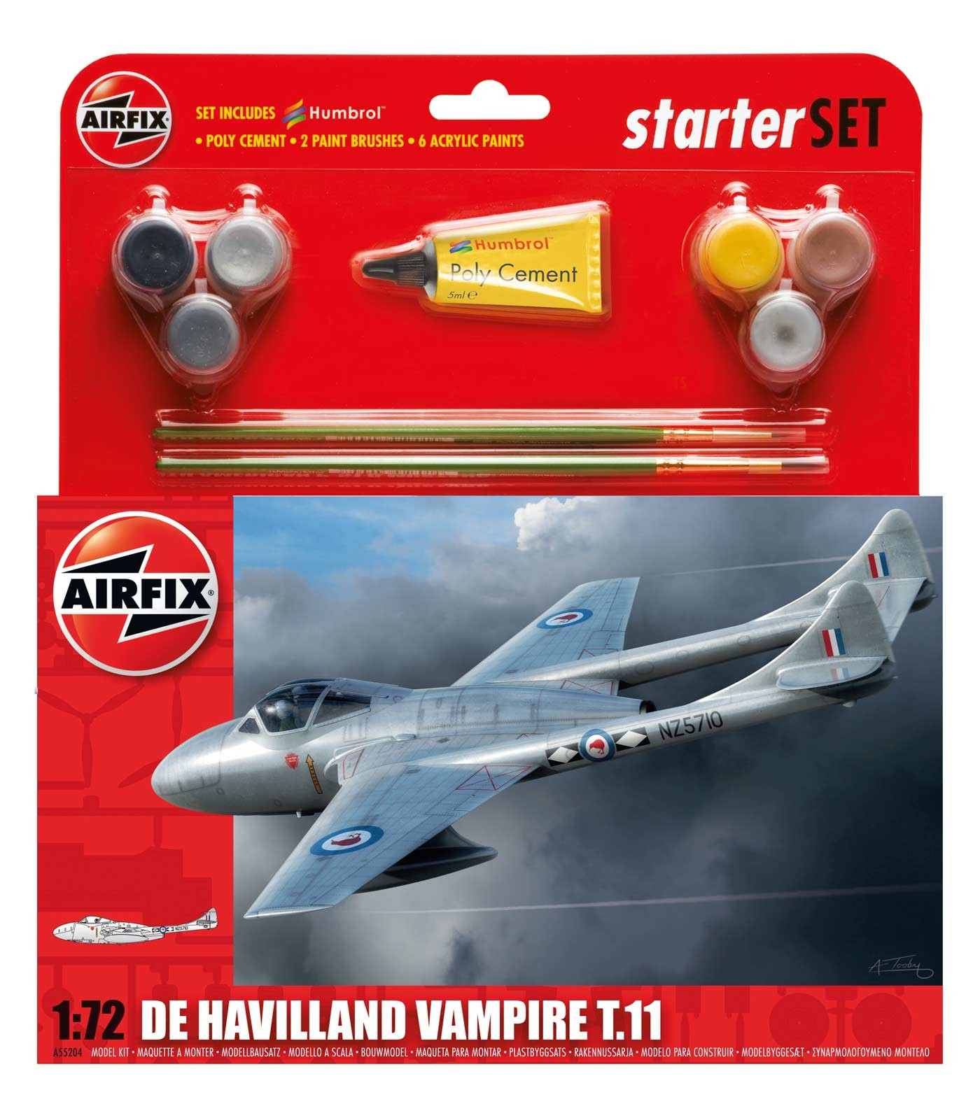 Airfix De Havilland Vampire T11 Starter Set 1:72nd Scale.