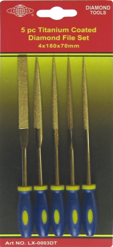5 pc Titanium coated Diamond file set