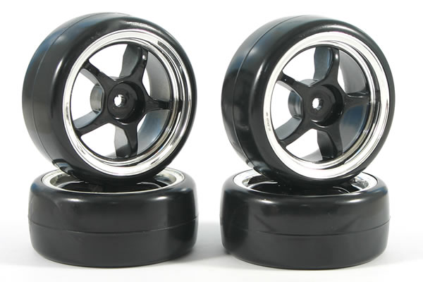 Fastrax 5-Spoke Drift Wheel & V2 Tyre Set (4) - Chrome