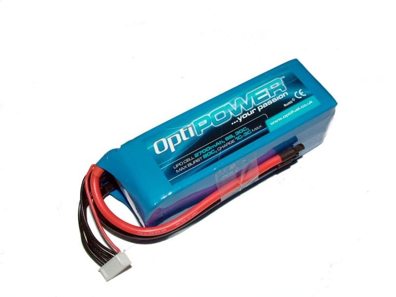 Opti Power Lipo Cell Battery 2700mAh 6S 30C