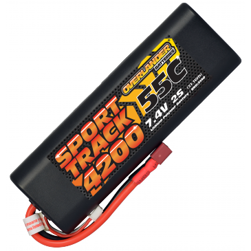 4200mAh 2S 7.4v 55C LiPo Battery in Hard Case Sport Track