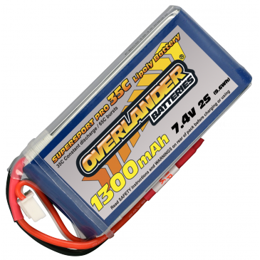 Lipo Batteries 1300mAh 2S 7.4v 35C Supersport Pro