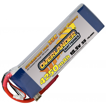 4250mAh 5S 18.5v 35C LiPo Battery - Overlander Supersport Pro