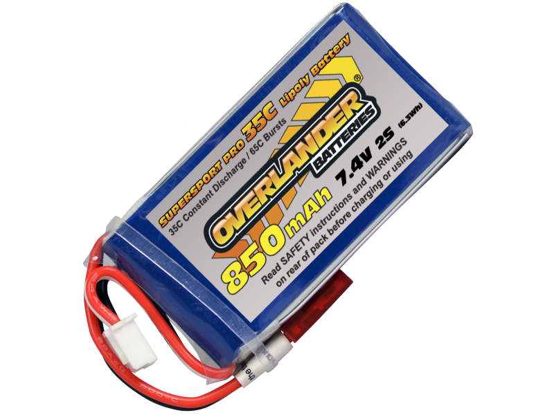 850mAh 2S 7.4v 35C LiPo Battery with BEC connector