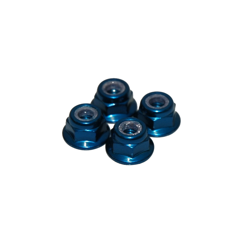 M4 NYLOC WHEEL NUT - BLUE ALLOY (PK4)
