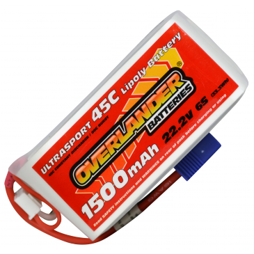 1500mAh 6S 22.2v 45C LiPo Battery with EC3 Connector Ultrasport