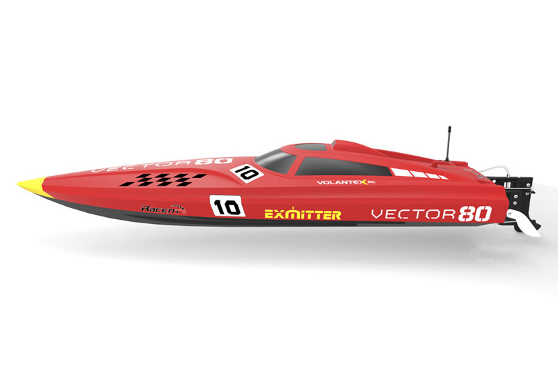 VOLANTEX VECTOR 80 BRUSHLESS BOAT READY SET (NO BATTERY) - RED