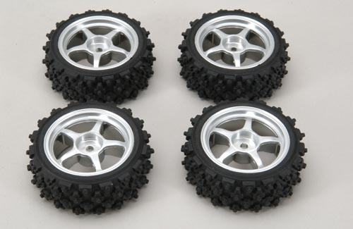 Ripmax Silver Wheel w/Spike Tyre Pk4